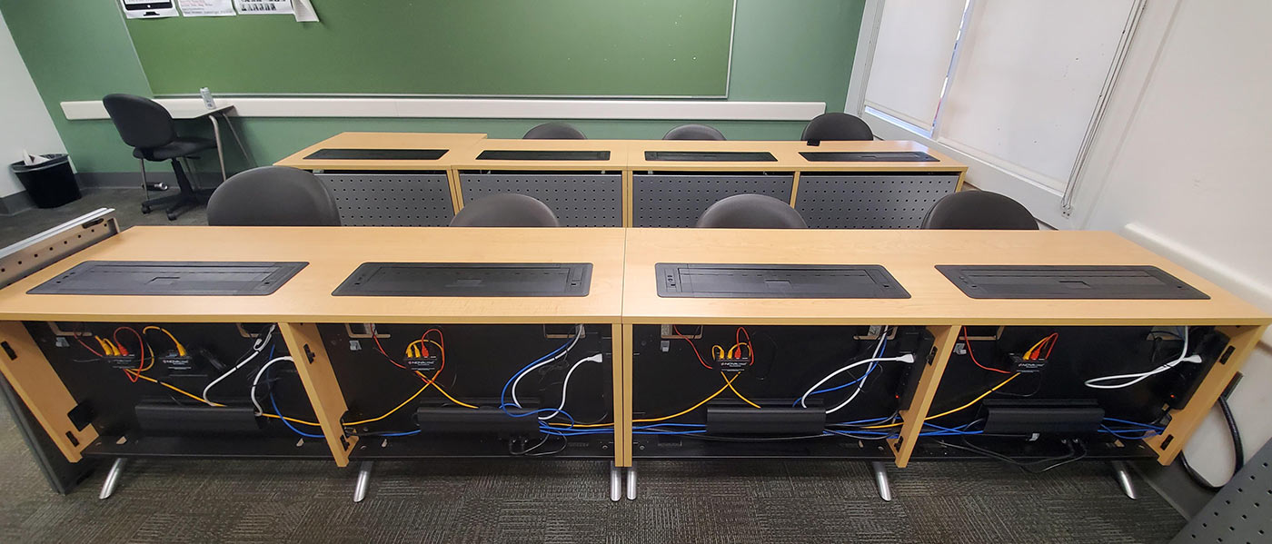 Computer desk and lectern wire and cable management