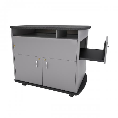 Curved Top Standing Height Lectern with Pull-out Shelf