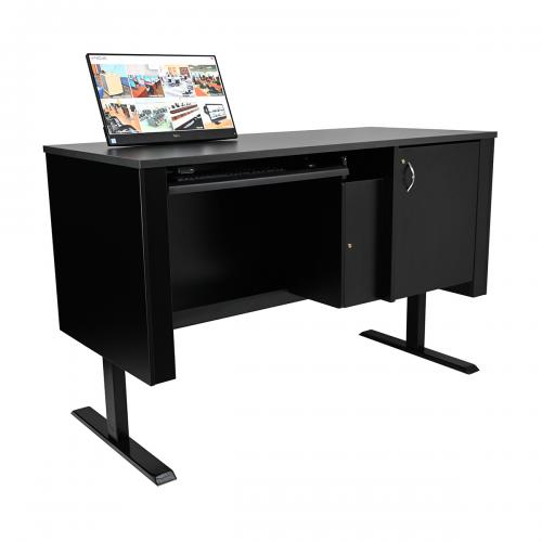 Sit-Stand Lectern with Locking CPU Storage and Surface Mount Arm