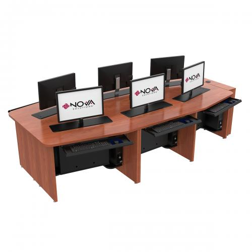 6 Person Boat Shape Collaboration Table with Trolley™ Monitor Lifts