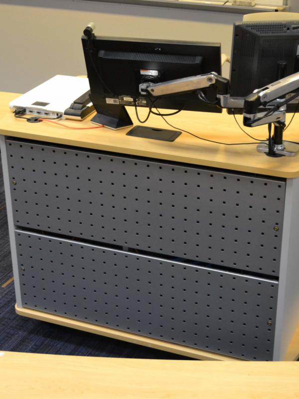 Computer lectern with modesty panel