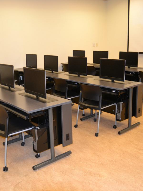 Computer desks at Texas State University