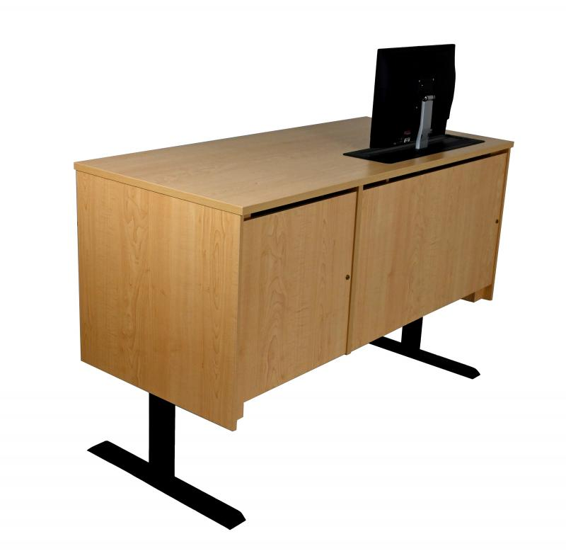 Sit-Stand Lectern With Locking CPU-FusionMaple-ApproachSide-Lifted-TrolleyUp