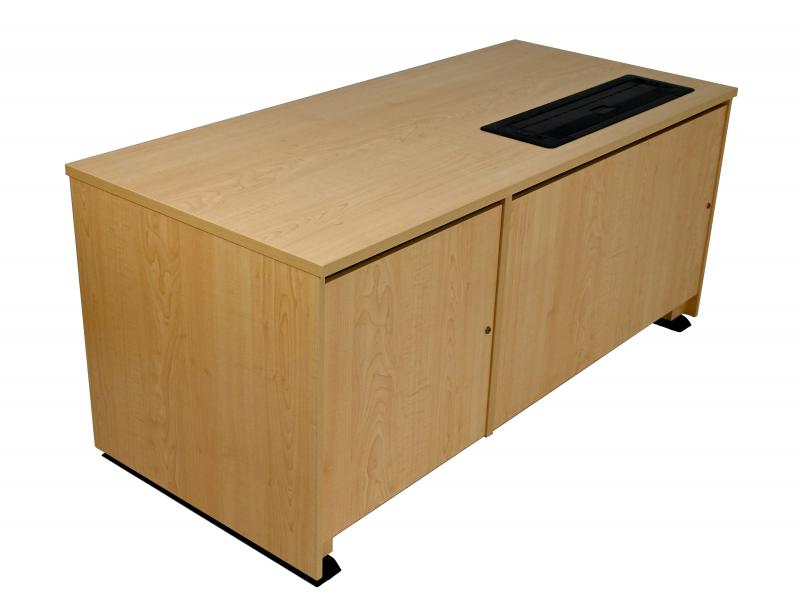 Sit-Stand Lectern With Locking CPU-Trolley™ -Fusion Maple-Approach Side-Lowered-Trolley Down