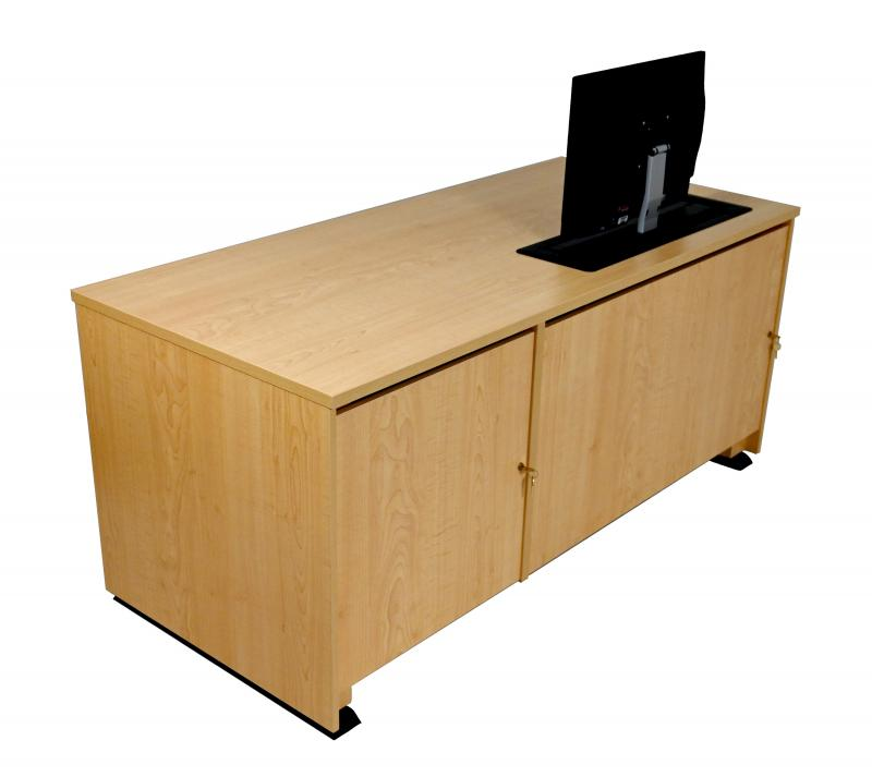 Stand Lectern With Locking CPU-Trolley™ -Fusion Maple-Approach Side-Lowered-Trolley Up