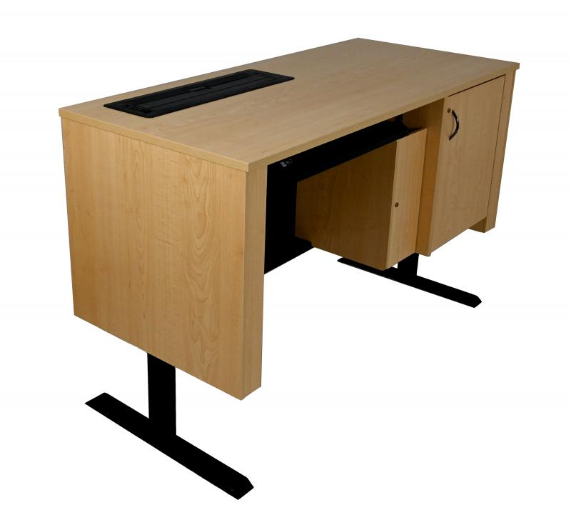 Sit-Stand Lectern With Locking CPU-Trolley™ - Fusion Maple - User Side - Lifted - Trolley Down