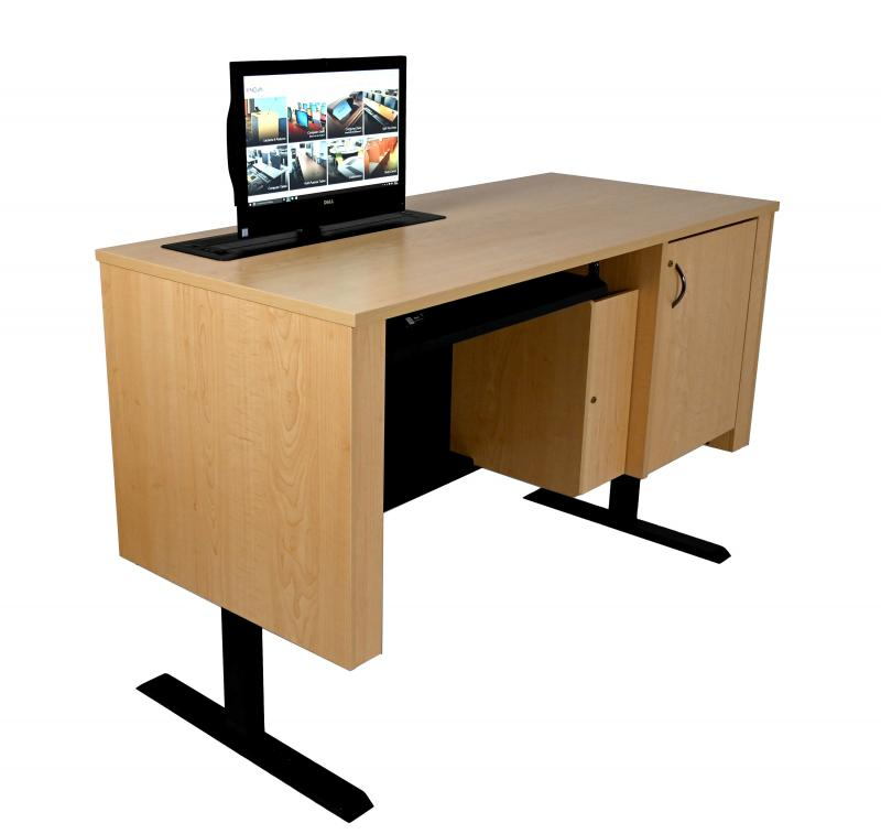 Sit-Stand Lectern With Locking CPU and Trolley Monitor Lift-Fusion Maple-User Side-Lifted-Trolley™ Up