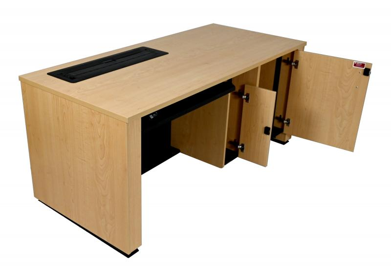 Sit-Stand Lectern With Locking CPU-Trolley™-Fusion Maple-User Side-Lowered-Trolley™ Down-Doors Open