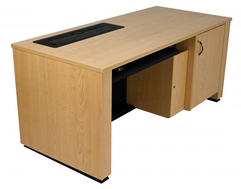 Sit-Stand Lectern With Locking CPU-Trolley™ -Fusion Maple-User Side-Lowered-Trolley Down