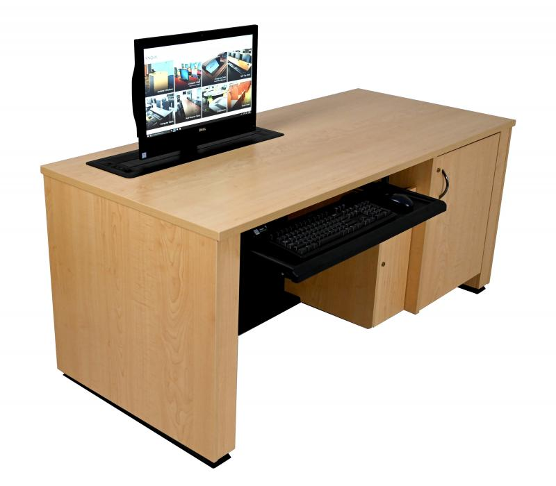 Sit-Stand Lectern With Locking CPU- Trolley™ - Fusion Maple - User Side-Lowered-Trolley™ Up-Keyboard Out