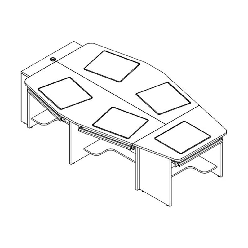 "5 Person Boat Shape Collaboration Table with 18"" x 21"" Downview™"