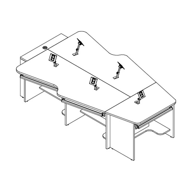 5 Person Keystone Collaboration Table with Surface Mount Arm