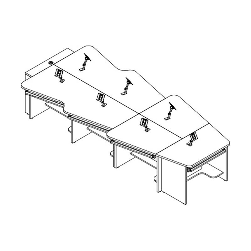 7 Person Keystone Collaboration Table with Surface Mount Arm