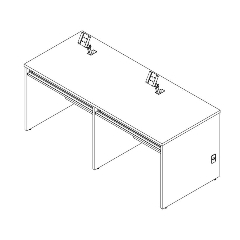 Double Computer Training Desk with Surface Mount arm