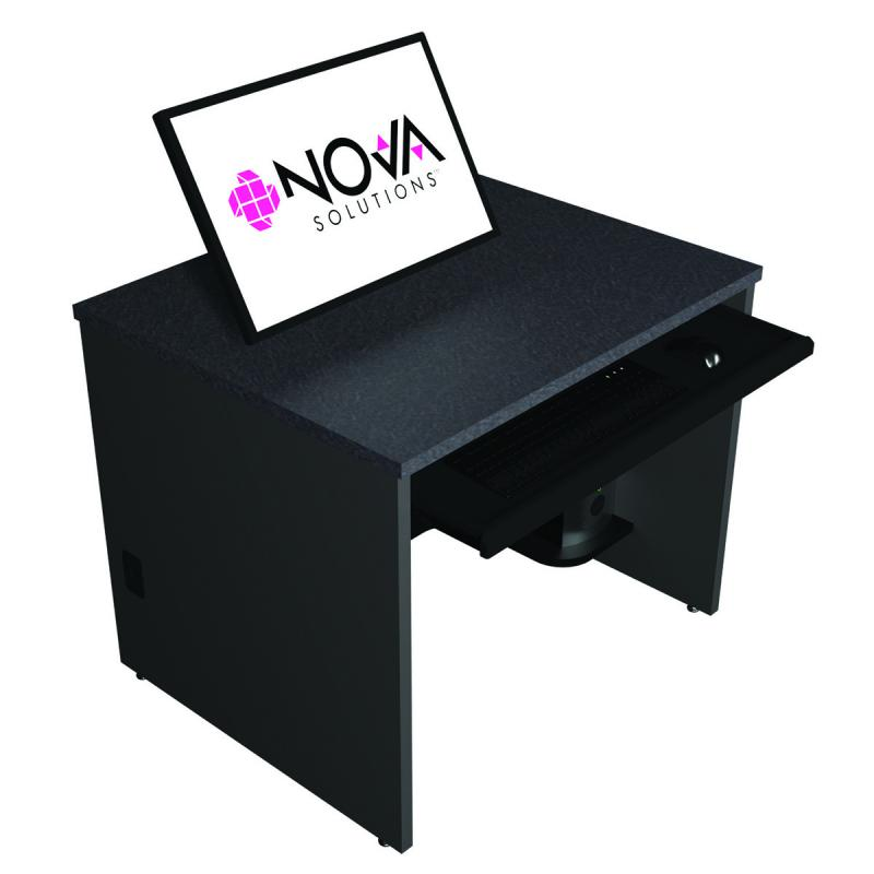 Single Computer Training Desk with Surface Mount Arm