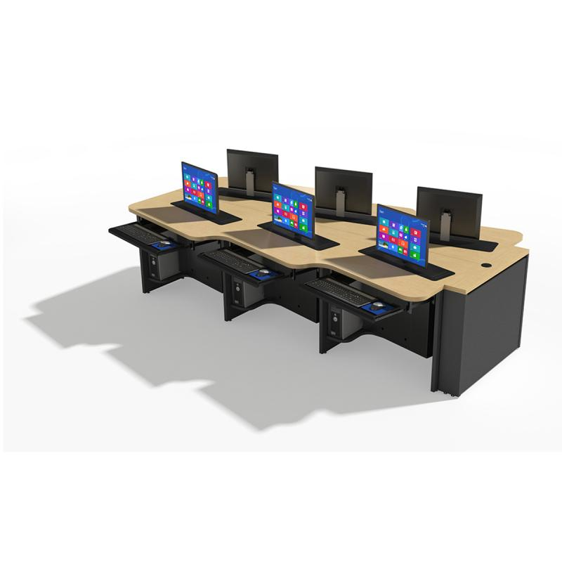 6 Person Keystone Collaboration Table with Trolley™ Monitor Lifts