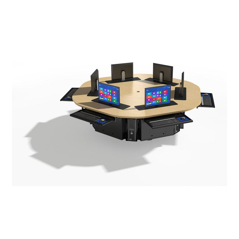 6 Person Round Collaboration Table with Trolley™ Monitor Lifts
