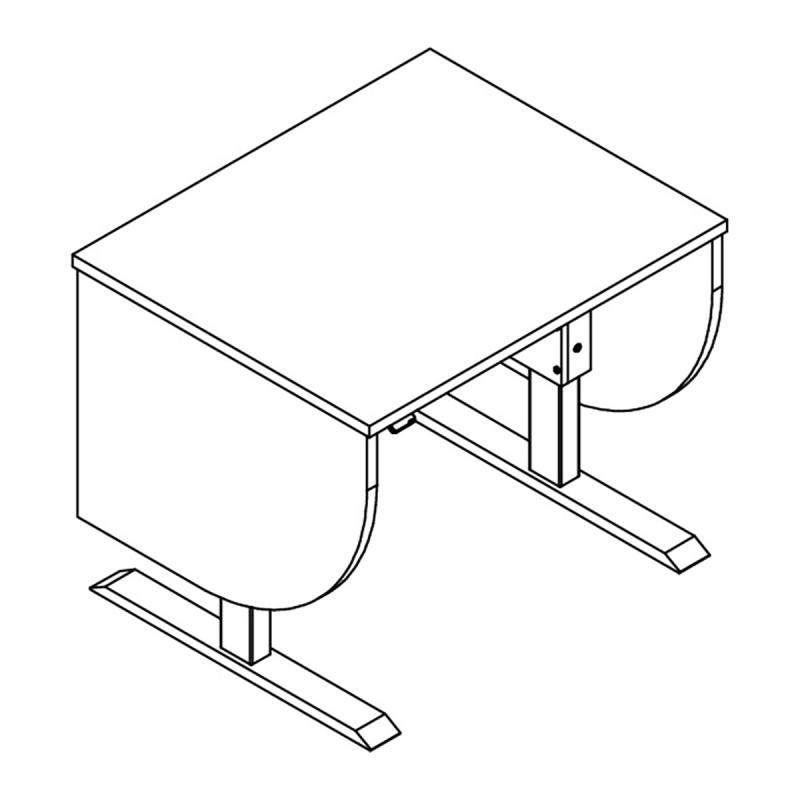 Adjustable Height Podium in the lowered position