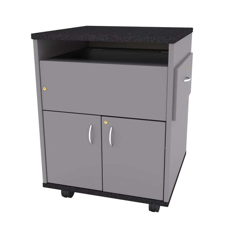 Square Top (2 Door) Standing Height Lectern with Pull-out Shelf