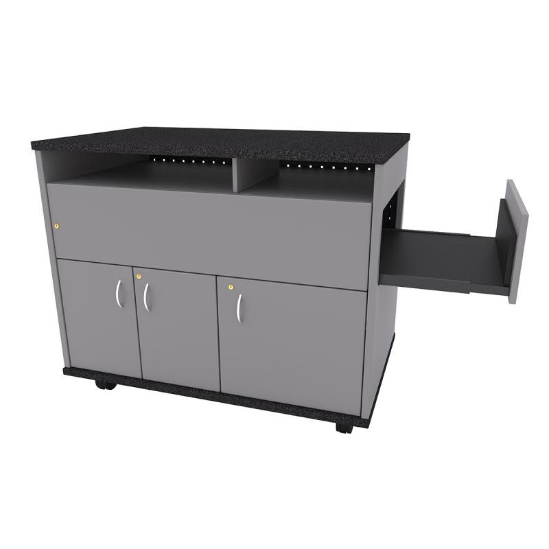Square Top (3 Door) Standing Height Lectern with Pull-out Shelf