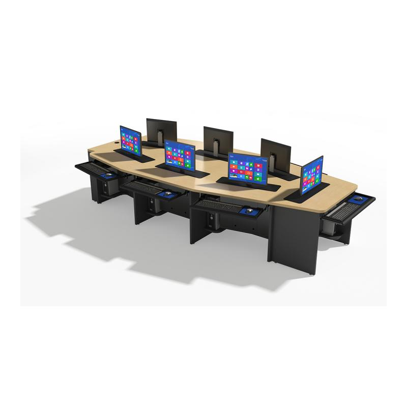 Seven Person Boat Shape Collaboration Table with Trolley™ Monitor Lift