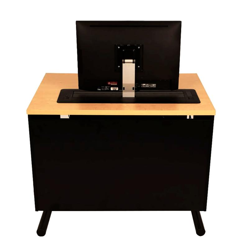 Single Computer Training Table with Trolley™ Monitor Lift and NOVA Keyboard Drawer