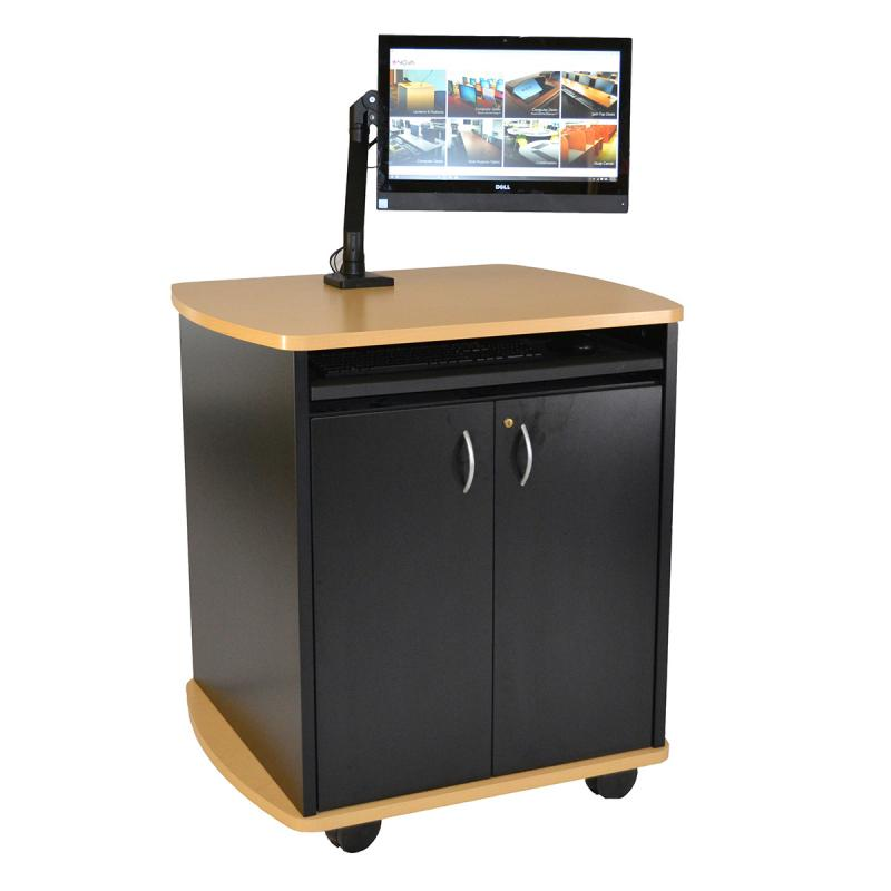 Curved Top Lectern (2 Door)  with Articulating Surface Mount Arm and NOVA Keyboard Drawer