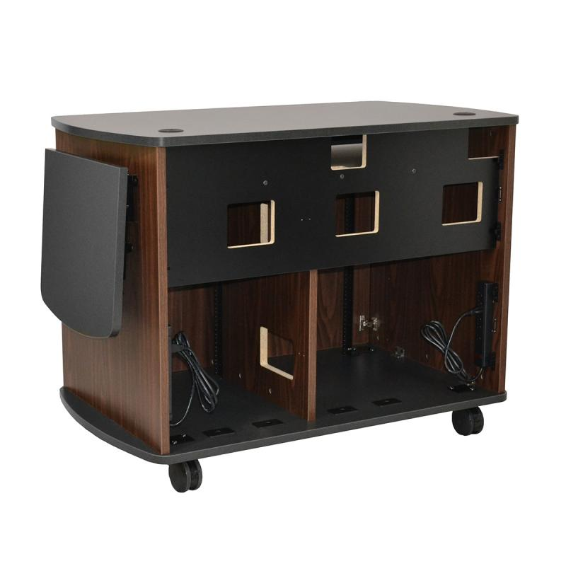 Curved Top Lectern (3 doors), NOVA keyboard, Flip-up shelf,and two Star Cut Wire Grommets