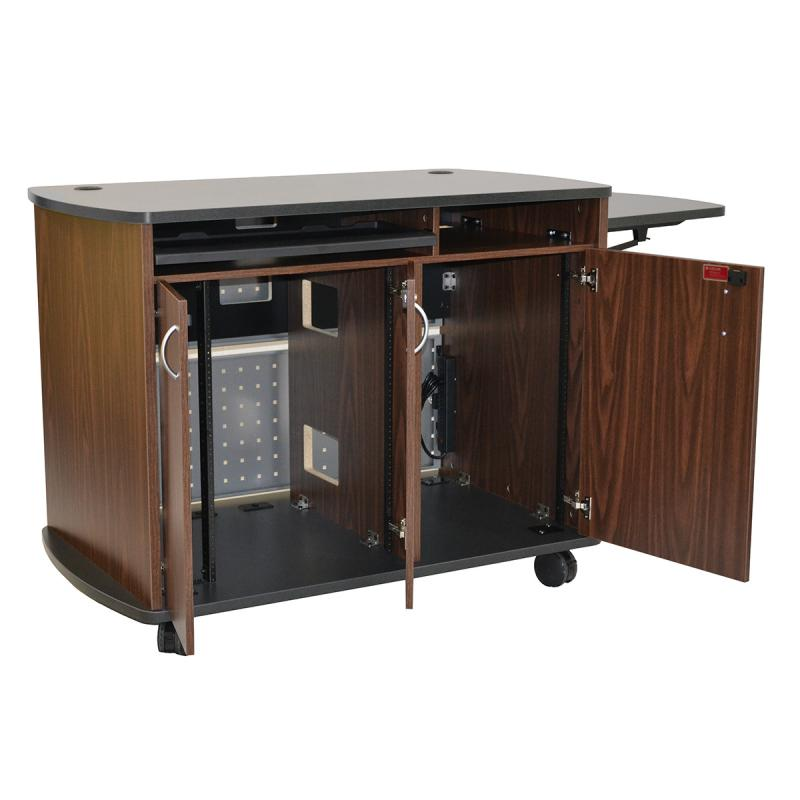 Curved Top Lectern (3 doors), NOVA keyboard, Flip-up shelf, and two Star Cut Wire Grommets
