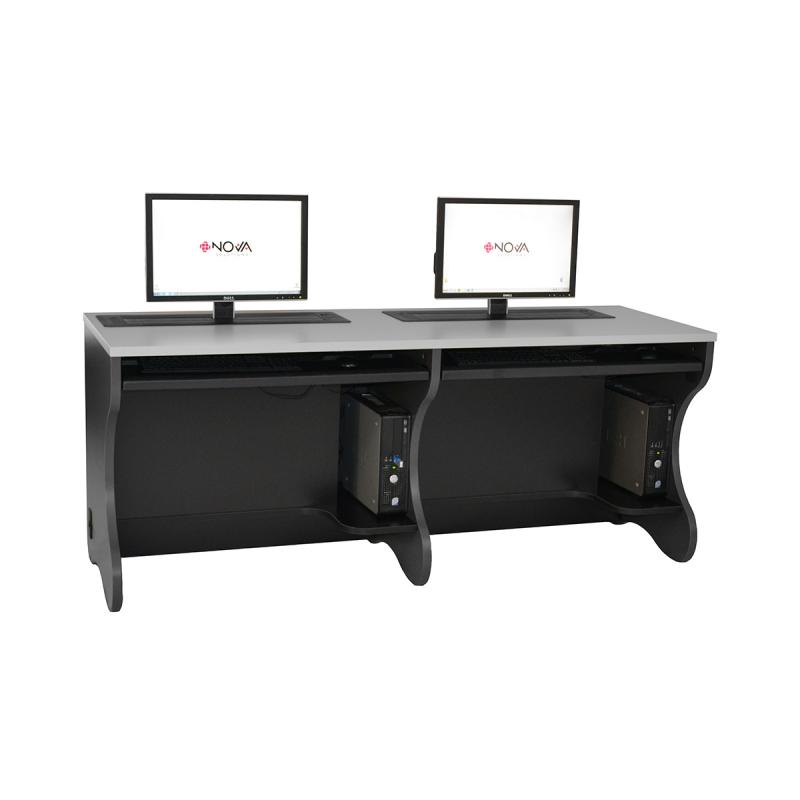 Double Computer Desk with Trolley™ Monitor Lifts, NOVA Keyboard Drawers, and Contoured End Panels