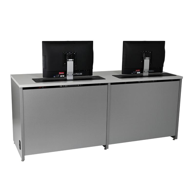 Double Computer Desk with Trolley™ Monitor Lifts