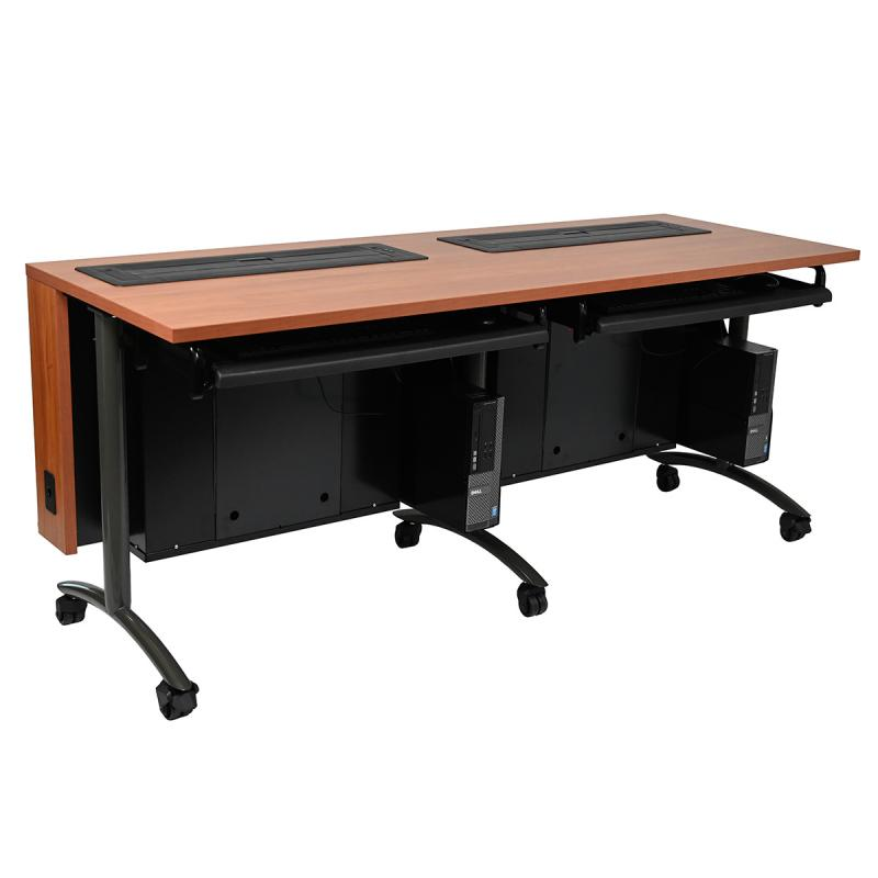 Double Computer Training Table with Trolley™ Monitor Lifts and NOVA Keyboard Drawers