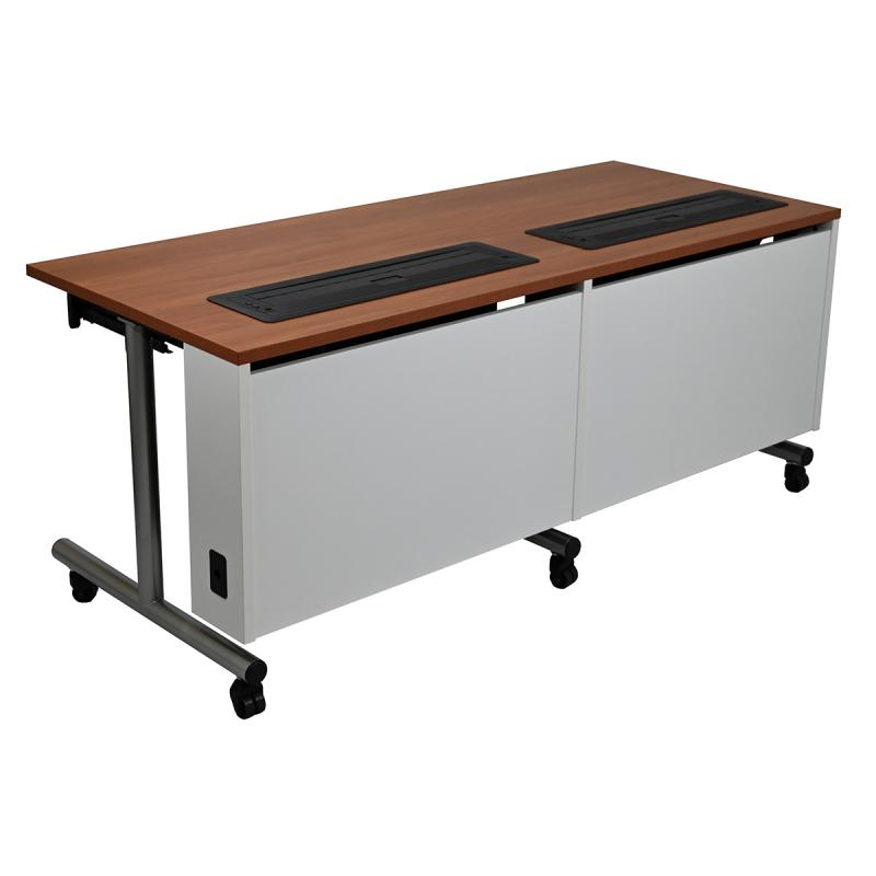 Double Computer Table with Trolley™ Monitor Lifts, NOVA Keyboard Drawer, T-Legs, and Casters