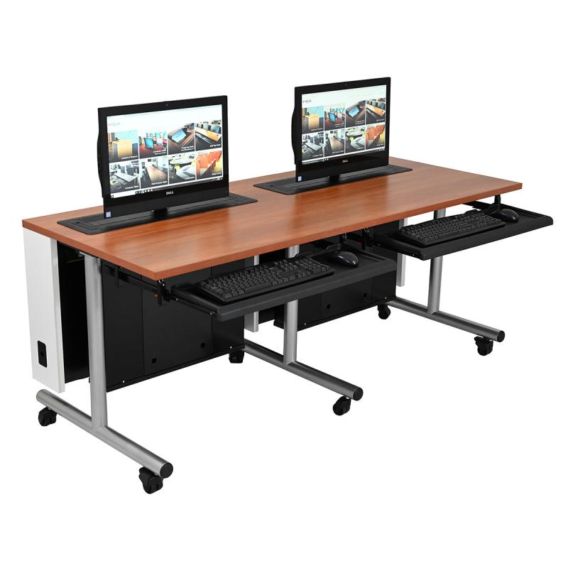 Double Computer Training Table with Trolley™ Monitor Lifts, NOVA Keyboard Drawers, T-Legs, and Casters