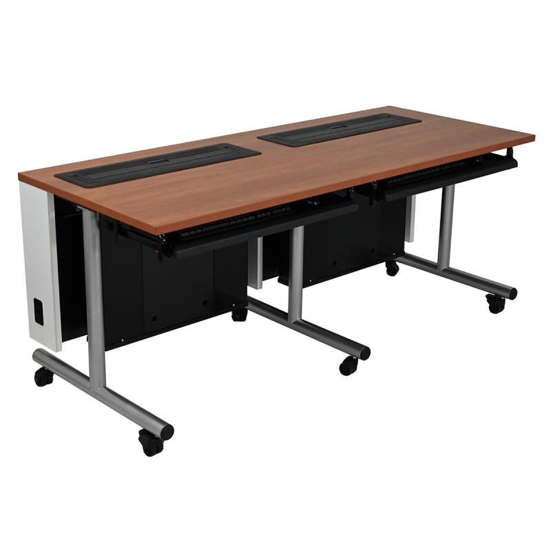 Double Computer Table with Trolley™ Monitor Lifts, NOVA Keyboard Drawers, T-Legs, and Casters