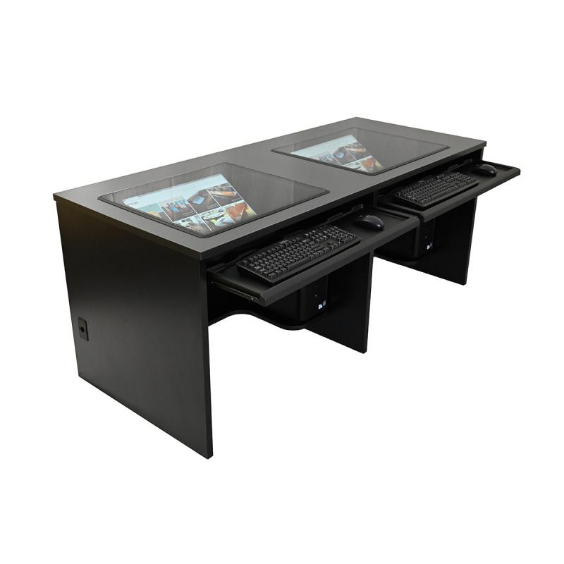 "Double Computer Training Desk with 21"" x 24"" Downview™ and NOVA Keyboard Drawers"