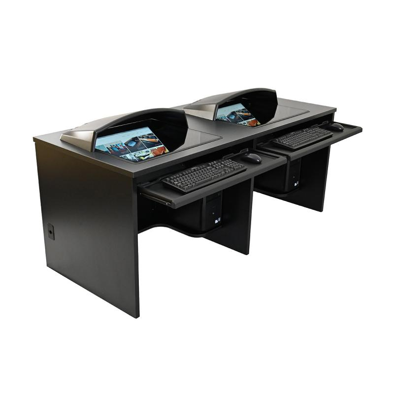 "Double Computer Training Desk with 21"" x 24"" Downview™"