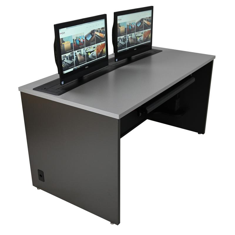 Single Computer Training Desk with Dual Trolley™ EXL
