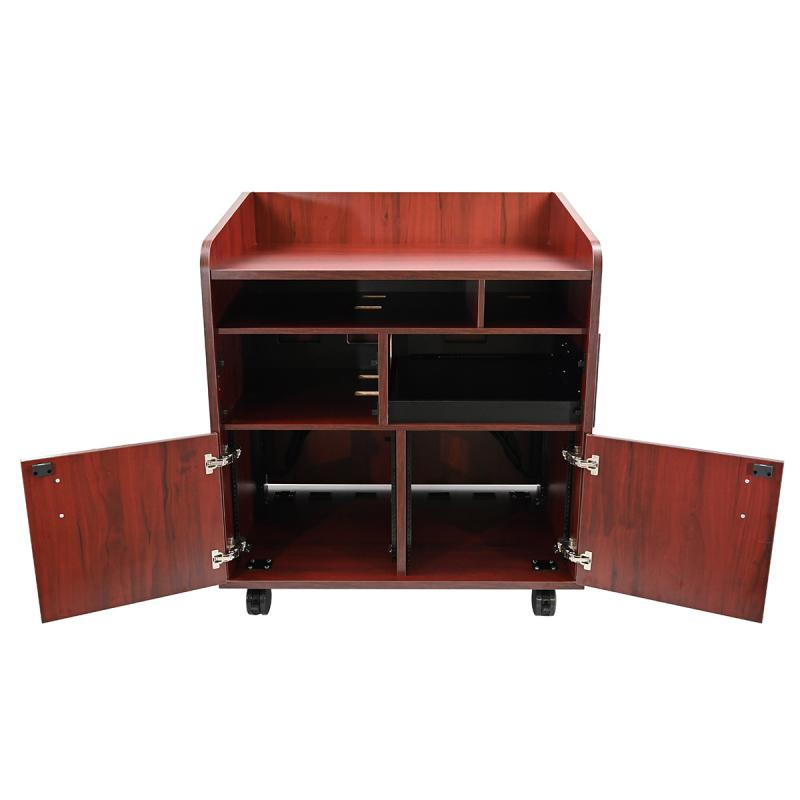 Privacy Side Standing Height Lectern with Pull-out Shelf