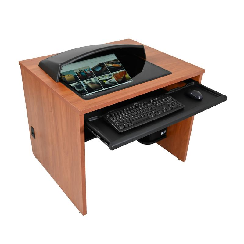 "Single Computer Training Desk with 21"" x 24"" Downview™, NOVA Keyboard Drawer, and optional Privacy / Glare Visor"