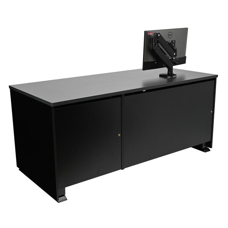 Sit-Stand Lectern with Locking CPU Storage and Articulating Surface Mount Arm