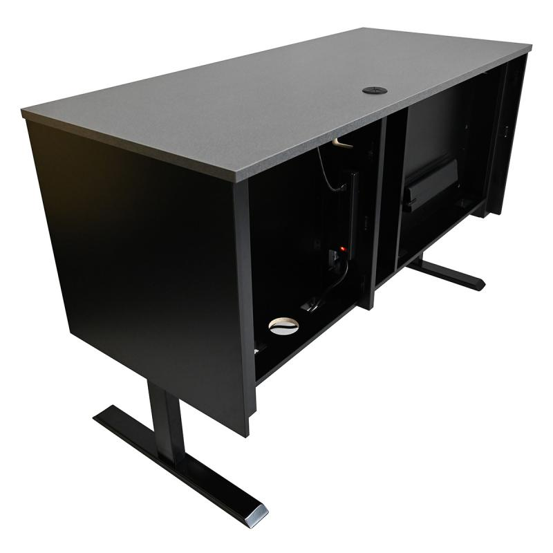 Sit-Stand Lectern with Locking CPU Compartment, NOVA Keyboard Drawer, and Star Cut Wire Grommet