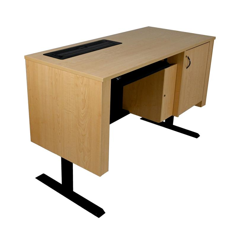 Sit-Stand Lectern with Locking CPU Storage, NOVA Keyboard Drawer, and Trolley™ Monitor Lift