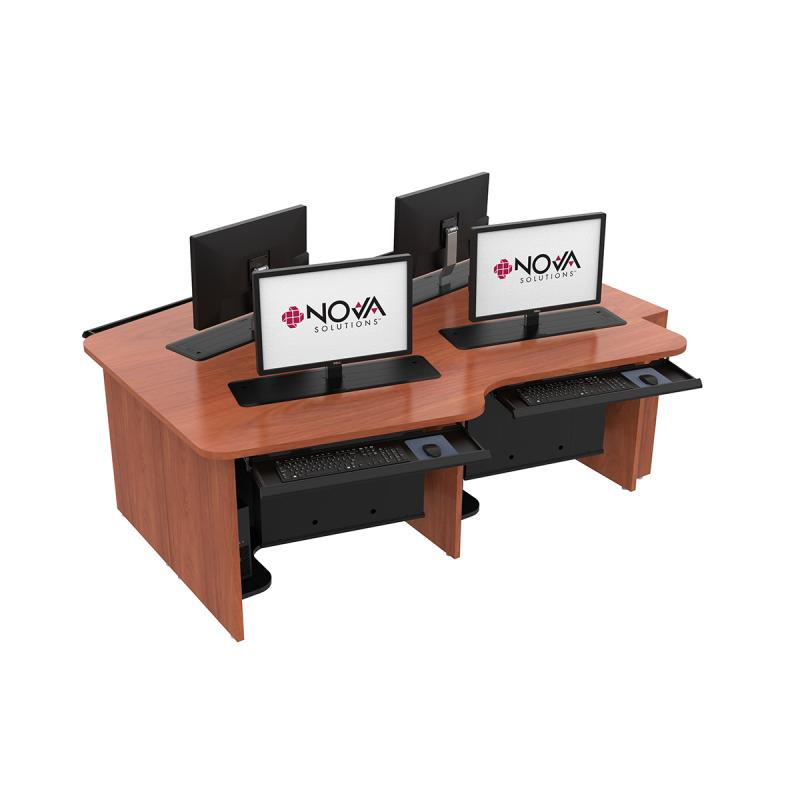 4 Person Keystone Collaboration Table with Trolley™ Monitor Lifts and NOVA Keyboard Drawers