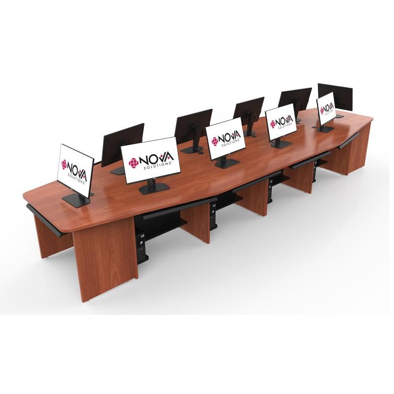 10 Person Boat Shape Collaboration Table with NOVA Keyboard Drawers and Star Cut Wire Grommets.