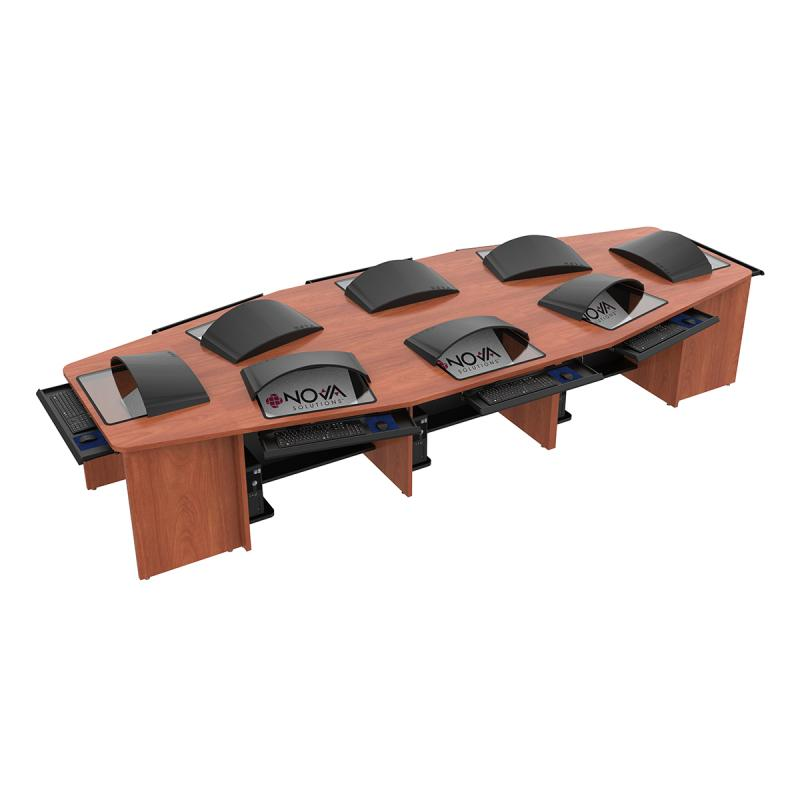 "8 Person Boat Shape Collaboration Table with 18"" X 21"" Downview™"