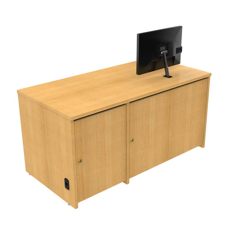 Seated Height Lectern with Locking CPU Storage and Surface Mount Arm