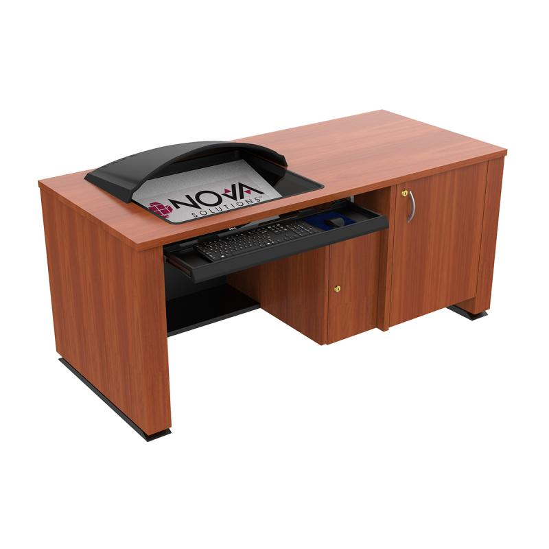 Sit-Stand Lectern with Locking CPU Storage, Downview™, and optional Privacy/Glare Visor- Seated