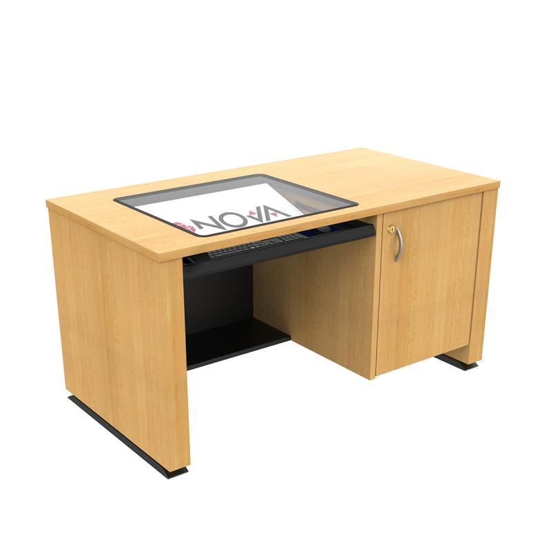 ADA Compliant height adjustable lectern that hides the computer. Seated position
