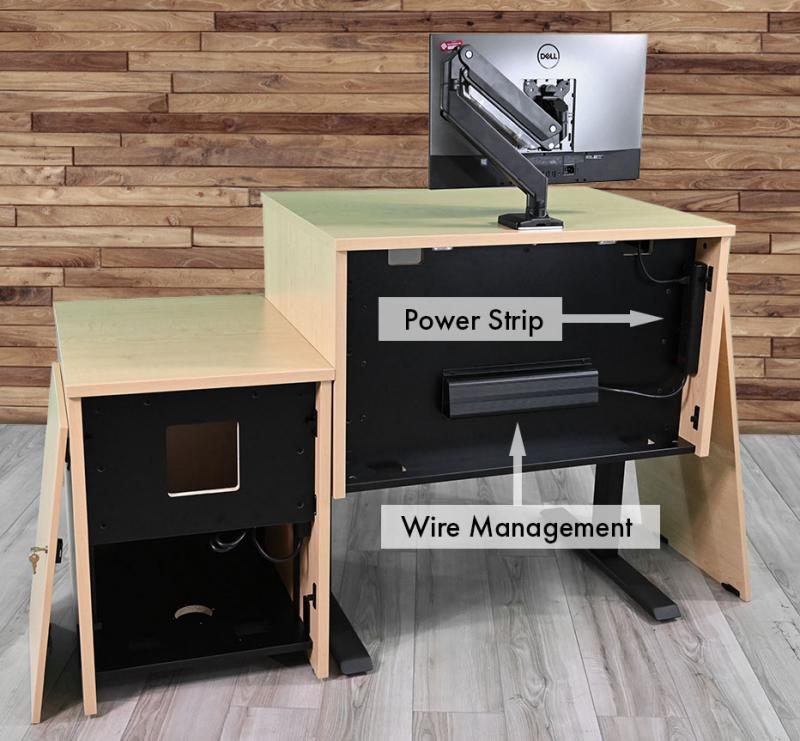 Height Adjustable Podium with power strip and wire management